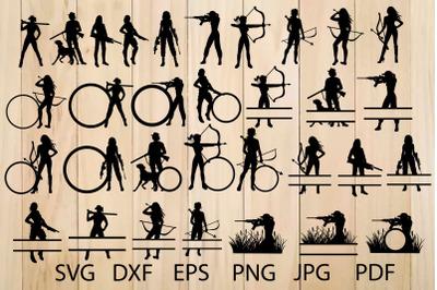 Huntress Silhouette, Female Funting, Hunting Monogram Frames