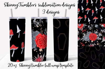 Halloween sublimation design. Skinny tumbler wrap design.