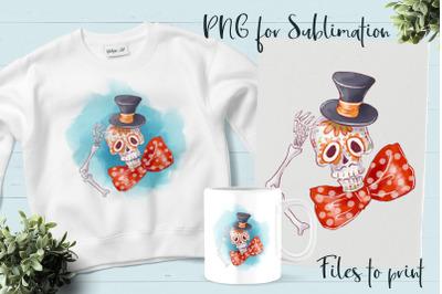 Da de los Muertos sublimation. Design for printing.