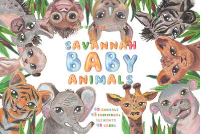 Savannah baby animals pastel set