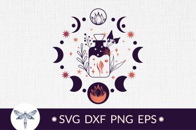 Halloween Magic mystical potion bottle SVG, moon phases SVG