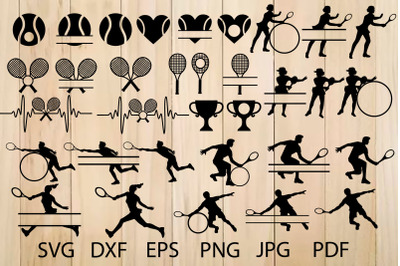 Tennis Svg, Tennis Silhouettes Svg, Tennis Monogram Frames, Sport