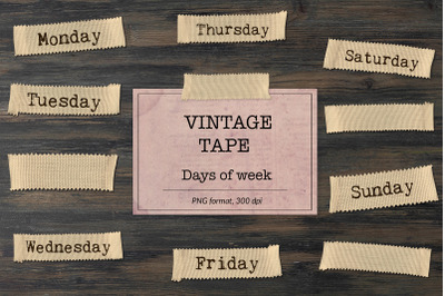 Days of the Week, Vintage Tape Clipart