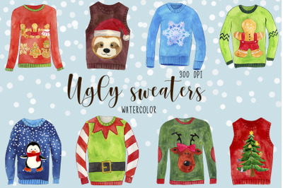Watercolor Christmas Sweaters Clipart, Vhristmas Jumpers Clipart