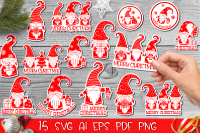 Christmas gnomes stickers
