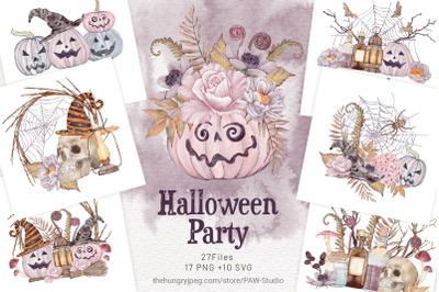 Halloween Cards Spooky Pumpkins & Fall Flowers