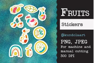 Stickers Fruits: apple, lemon, pear, cherry. PNG.