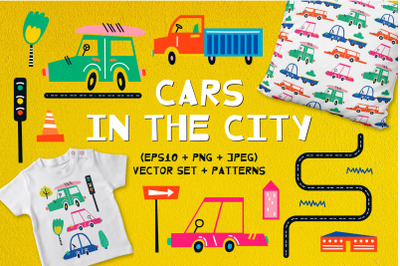 Cars in the city. Clipart + patterns