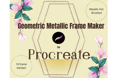 Geometric Metallic Frame Toolkit for Procreate- Stamps and Brushes