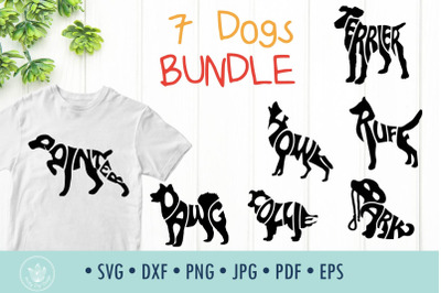 7 Dogs typography bundle SVG cut files