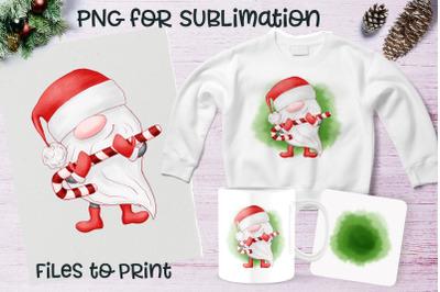 Christmas gnome sublimation. Design for printing