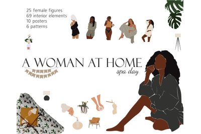 Girls at home, spa day, vector clipart, abstract girls, African Americ