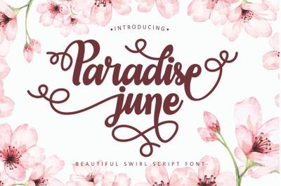 Paradise June - Beautiful Swirl Script Font