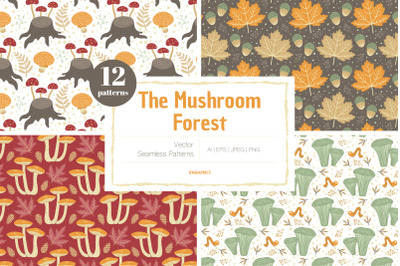 The Mushroom Forest Vector Patterns
