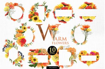 Warm flowers. Frames set.