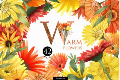 Warm flowers clipart