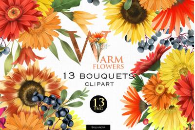 Warm flowers. Bouquets clipart, Part 2