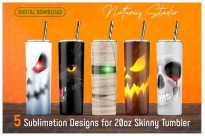 5 Halloween sublimation designs - 20oz SKINNY TUMBLER.