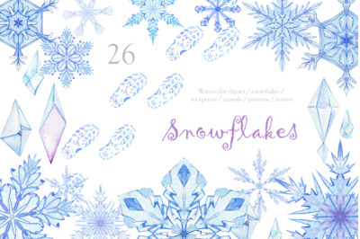Snowflakes. Watercolor clipart