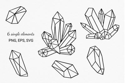 Crystal Cluster Svg, Gemstone SVG