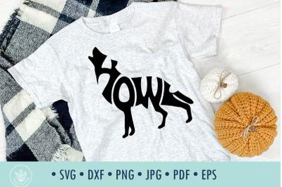 Howl dog typography SVG cut file