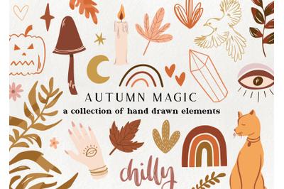 Autumn magic graphic elements
