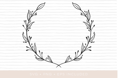 Wreath Elegant leaves foliage SVG Cutfile. PNG, EPS also included