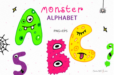 Monster Alphabet and number Characters