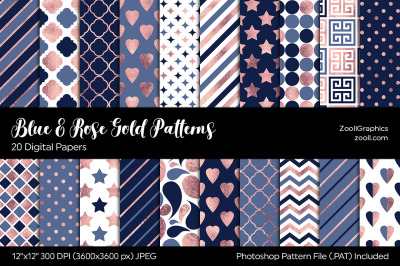 Blue And Rose Gold Digital Papers