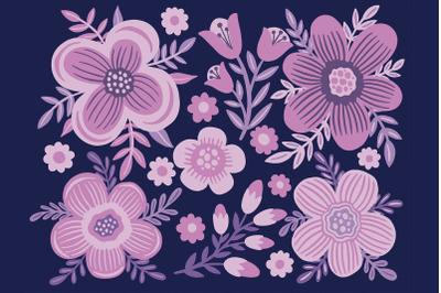 Set flower purple color