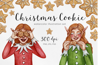Watercolor set Christmas cookie illustrations. Watercolor Art. Ginger