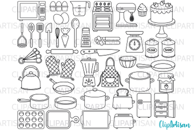 Kitchen Tools Baking Cooking Clip Art Digital Stamps