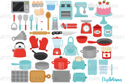 Kitchen Baking and Cooking Tools Clip Art Retro Red and Blue