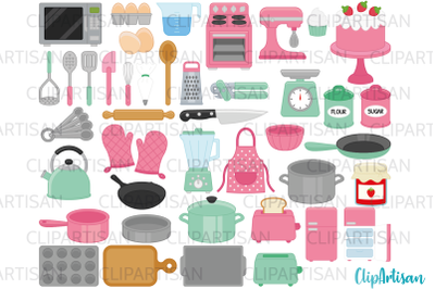 Kitchen Baking and Cooking Tools Clip Art Retro Pink Green