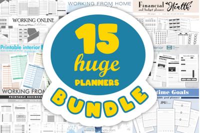 15 HUGE Planners bundle printable KDP interiors.