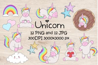 Set unicorn illustration.Cute clipart.Rainbow,love,sweet