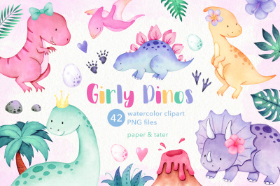 Watercolor Girly Dinosaurs Clipart, Cute Baby Dino Summer PNG