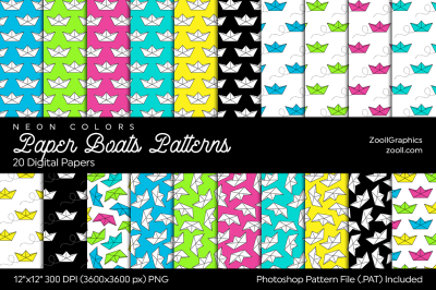 Paper Boats Neon Digital Papers
