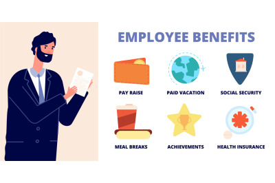 Employee benefits. Office character, professional holding list wellbei