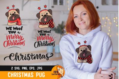 Christmas dog pug with quote
