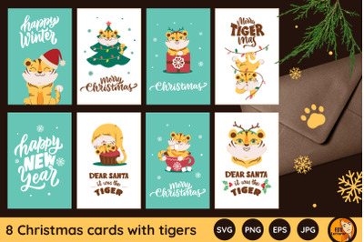 Christmas cards. Cartoon tigers