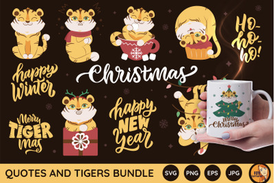 Christmas bundle. Funny tigers and quotes
