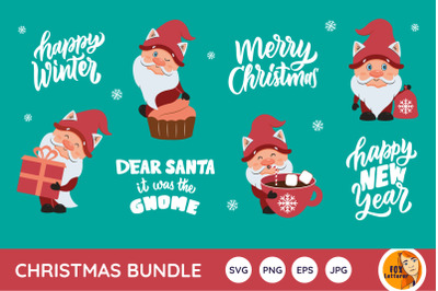 Christmas bundle. Winter gnomes and quotes