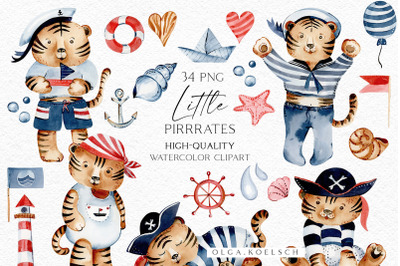 Cute tiger clipart, Pirates clipart tiger png for baby shower invite,