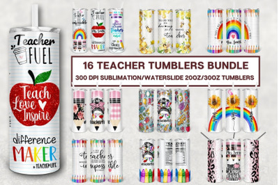 Teacher 20 oz Skinny Tumbler Bundle, Teacher Life Back To School