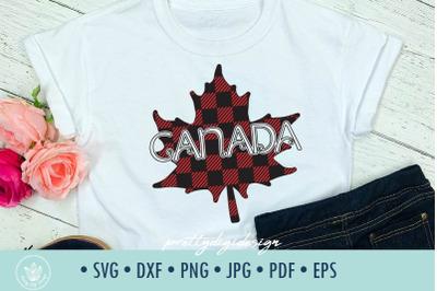 Canada maple leaf SVG buffalo plaid