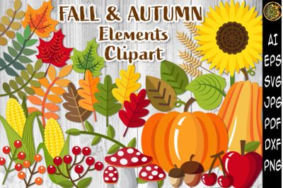 Fall & Autumn Elements SVG Clipart Set