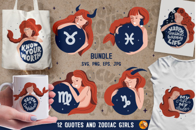 Magic set of zodiac girls and quotes