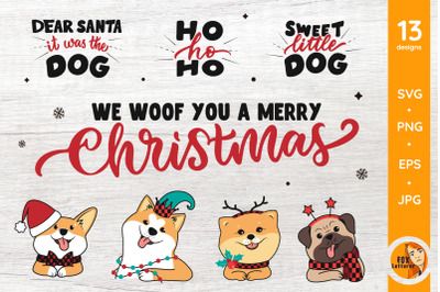 Dog Heads and Quotes. Christmas Bundle