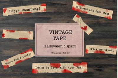 Halloween Sayings, Vintage Tape Clipart